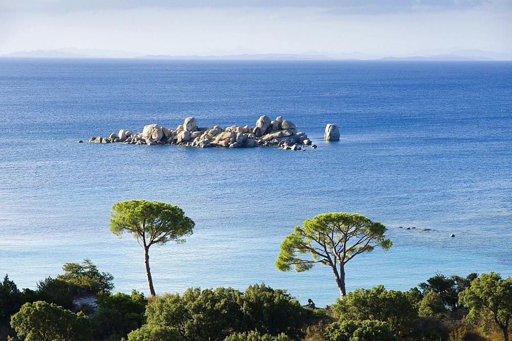 Rocky island off the coast, pines, Palombaggia, East Coast, Corsica, France, Europe