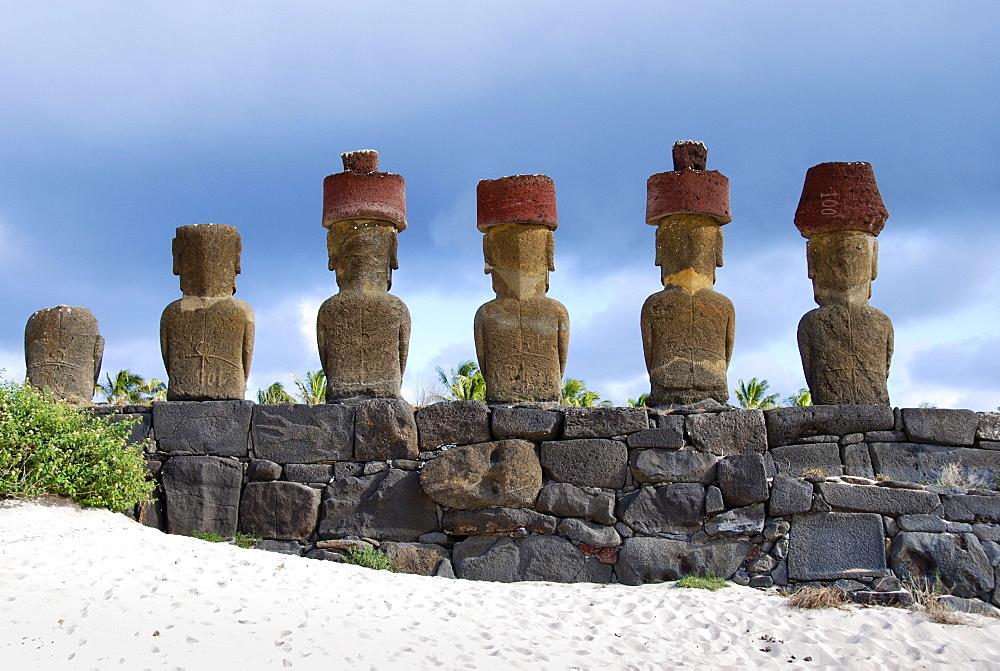 Moai, in Ahu Nau Nau, Easter Island, Rapa Nui, Pacific