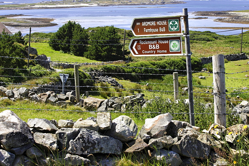Bed and Breakfast sign posts, Connemara, Republic of Ireland, Europe