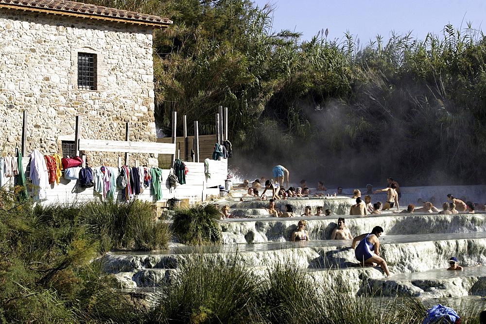 Volcanic hot springs, Saturnia, Tuscany, Italy, Europe