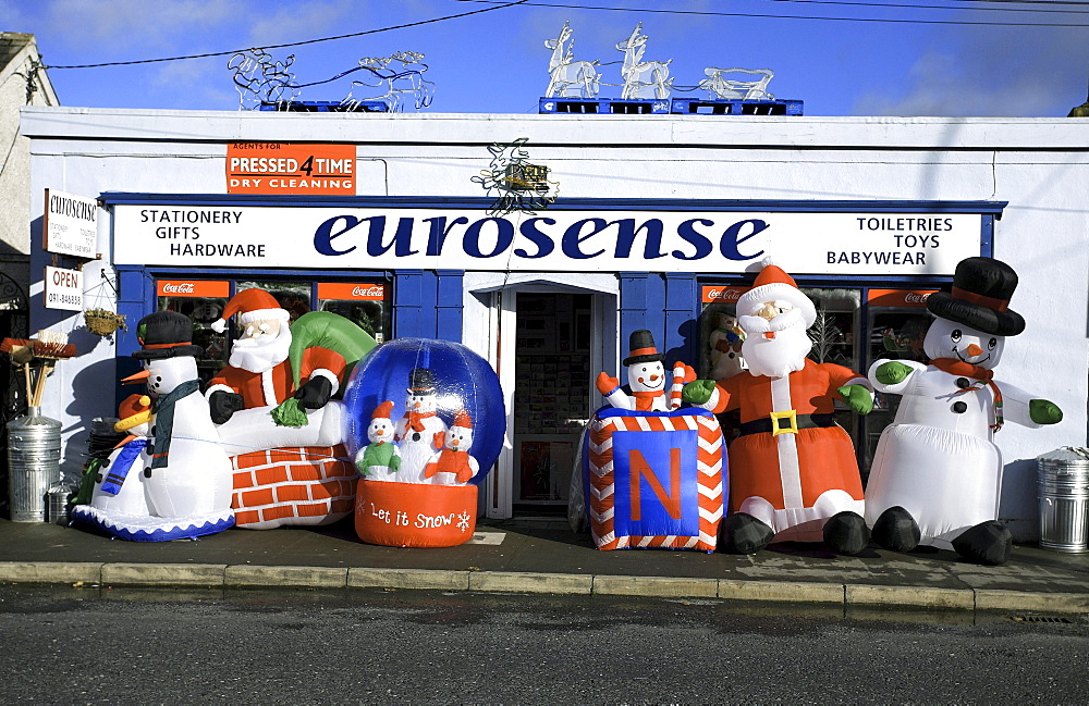 Hardware giftshop general store, blow up Christmas decorations, Craughwell, County Galway, Republic of Ireland, Europe