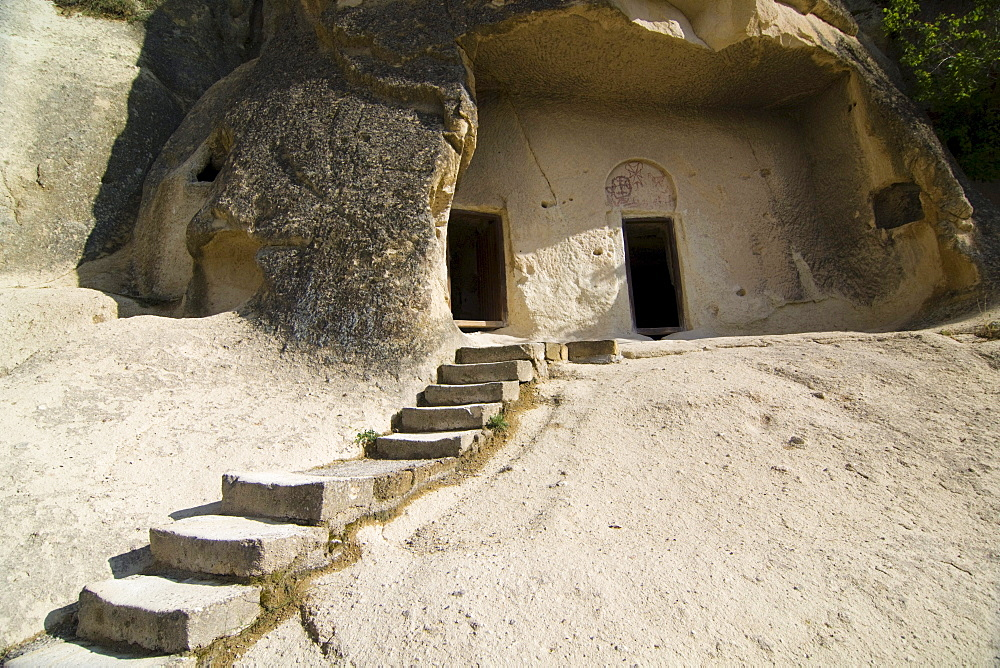 Entrance to a rock church in the open air museum, UNESCO World Heritage Site, Goreme, Cappadocia, central Anatolia, Turkey, Asia