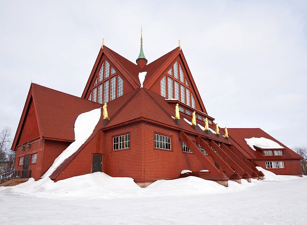The church in Kiruna, mainly built of wood, inaugurated in 1912, Lapland, northern Sweden, Europe - 832-106009