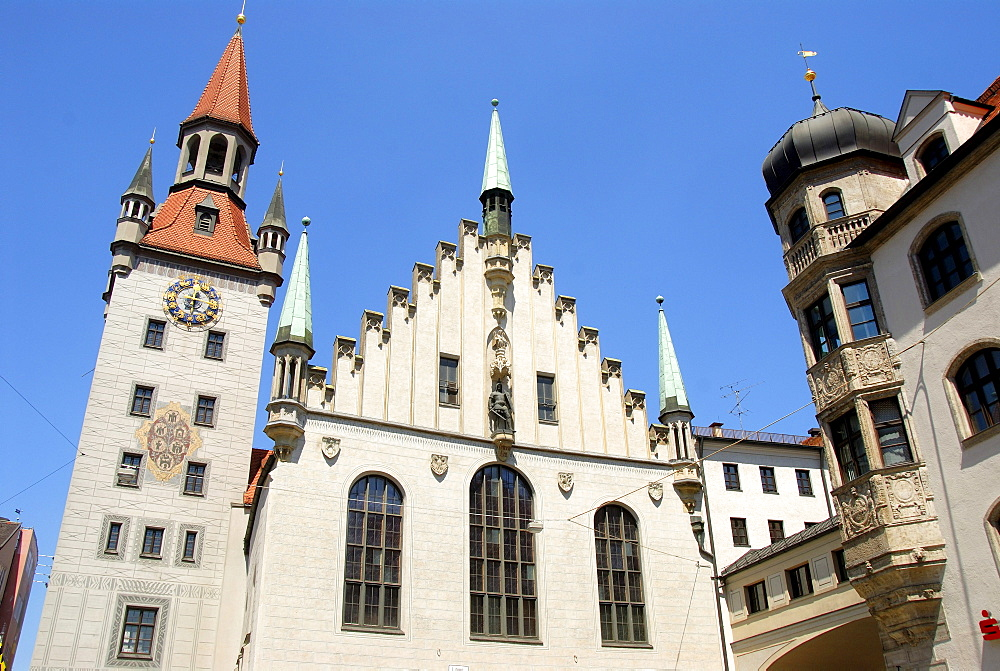 Late Gothic architecture, Old Town Hall and Talburgtor tower, oriel, historic centre, Munich, Upper Bavaria, Germany, Europe