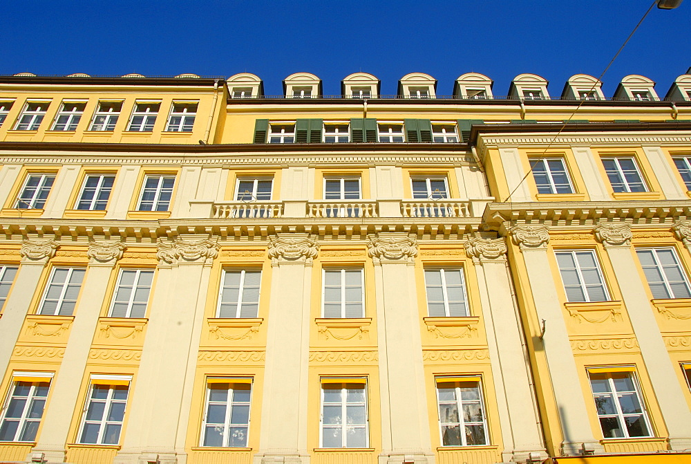Dallmayr building, facade painted in yellow and white, Dienerstrasse Street, historic district, downtown, city centre, Munich, capital city of Bavaria, Upper Bavaria, Bavaria, Germany, Europe