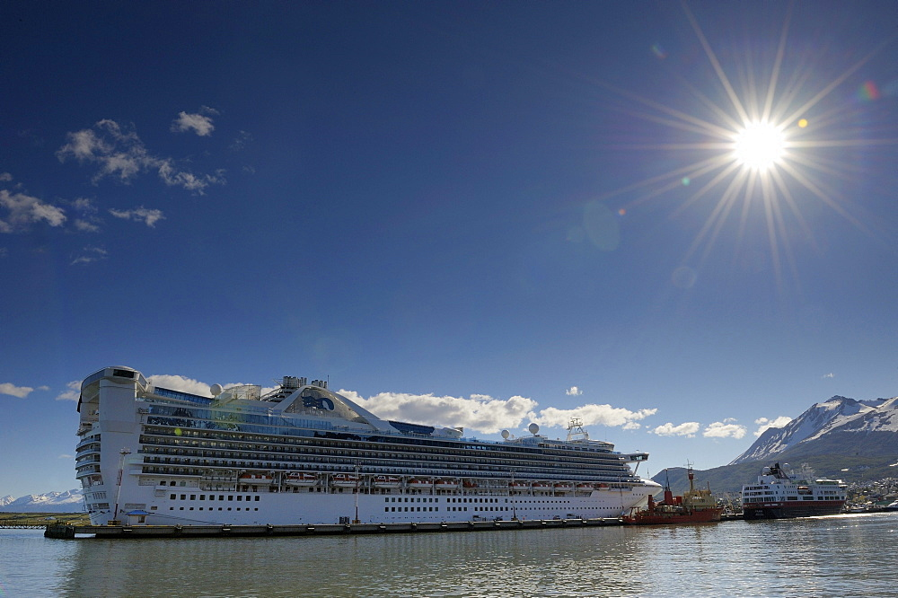 Cruise ship in the port of Ushuaia, Tierra del Fuego, Patagonia, Argentina, South America