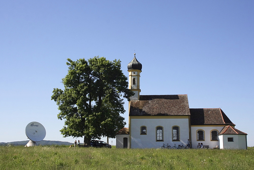 Sanctuary of St. Johann and a satellite antenna at Raisting on Ammersee lake, Upper Bavaria, Germany, Europa