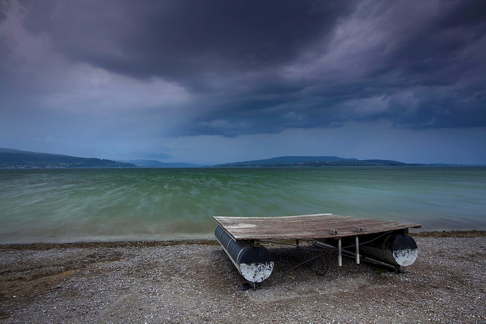 Stormy atmosphere at Lake Constance, swimming platform, heavy storm, Reichenau Island, Baden-Wuerttemberg, Germany, Europe