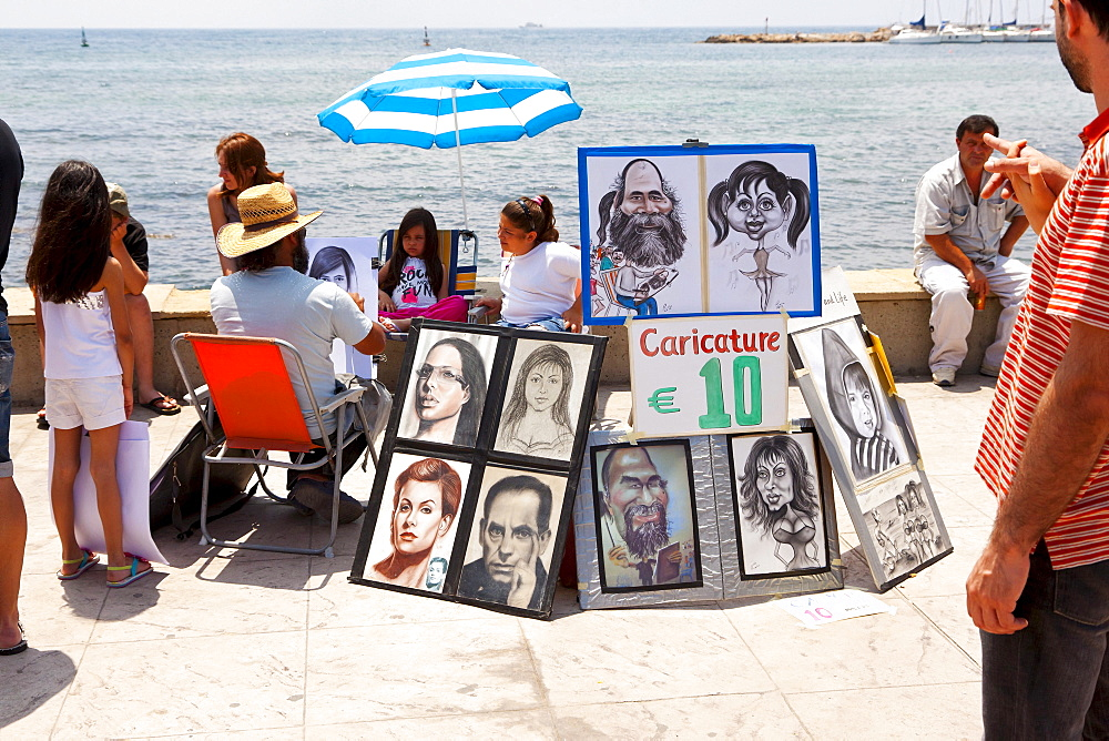 Portrait painter at the promenade of Paphos, Southern Cyprus, Greek Cyprus, Southern Europe