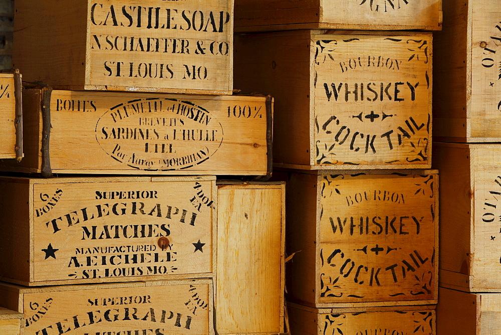 Whiskey boxes, historic Columbia State Park, California, USA
