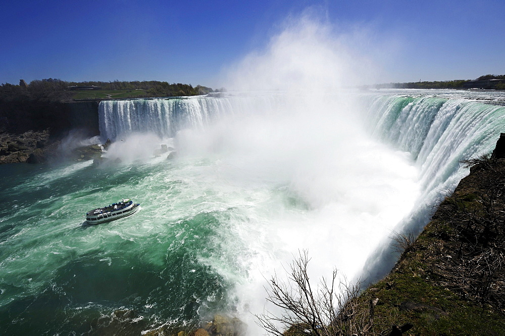 Niagara Falls with an excursion boat, Ontario, Canada