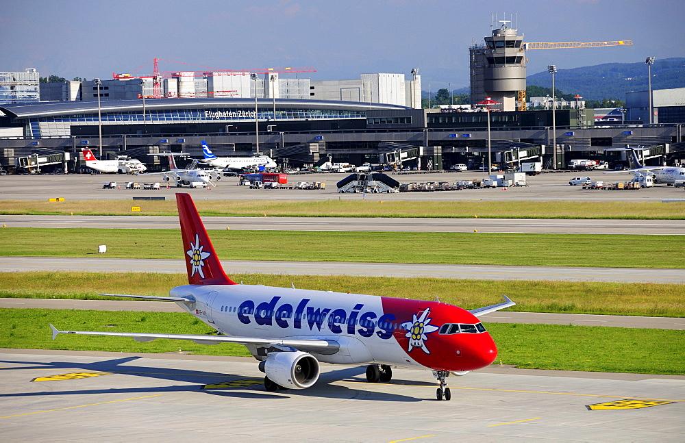 Airbus 320 from Edelweiss Air at Zurich Airport, Switzerland, Europe