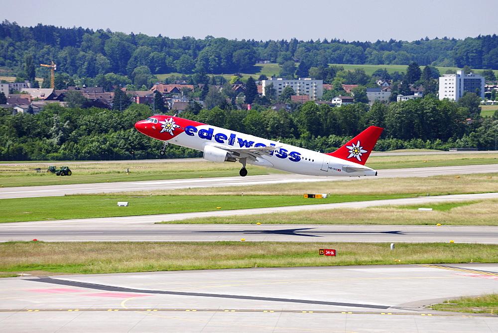 Airbus 320 from Edelweiss Air taking off, Kloten Airport, Switzerland, Europe
