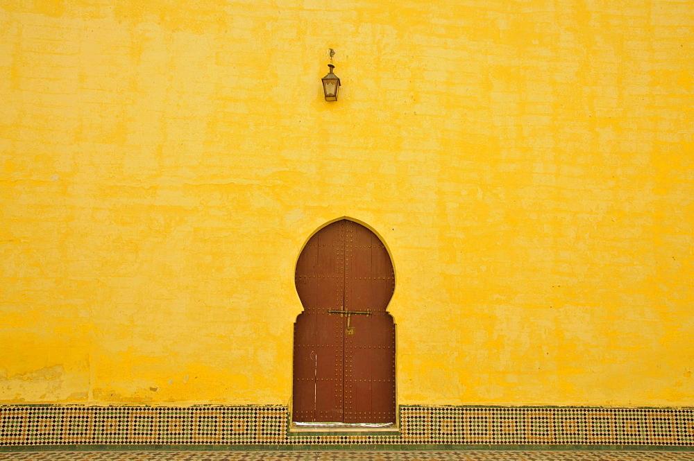 Door, courtyard, Moulay Ismail Mausoleum, Meknes, Morocco, Africa - 832-107181