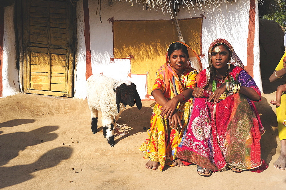 Women in colorful saris in front of a traditionally painted houses, Thar Desert, Rajasthan, North India, India, Asia