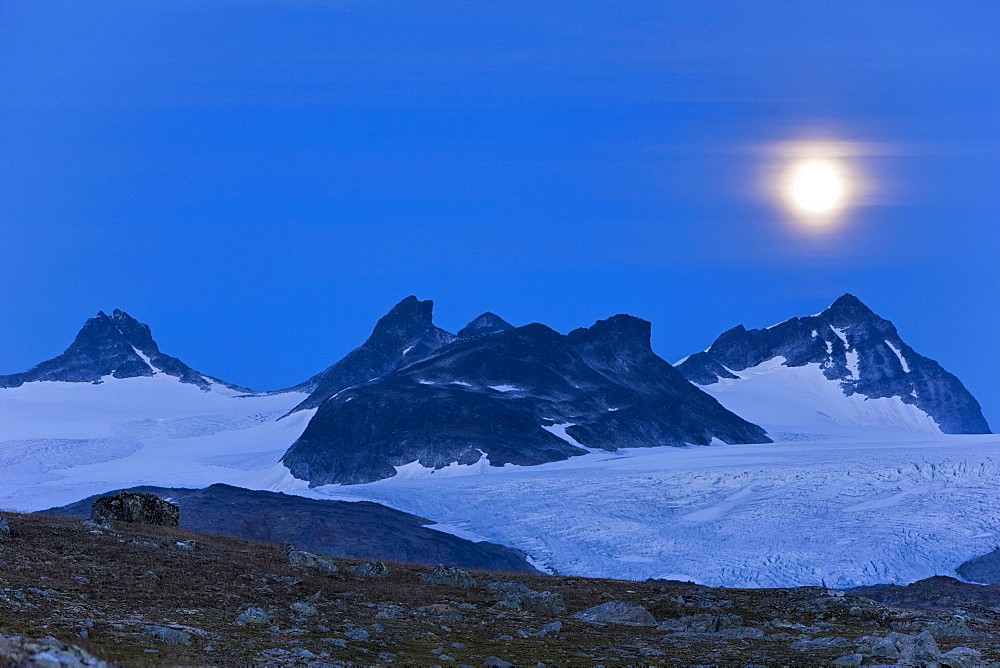 Moonlight over Smorstabbreen, Sognefjell, Norway, Scandinavia, Europe
