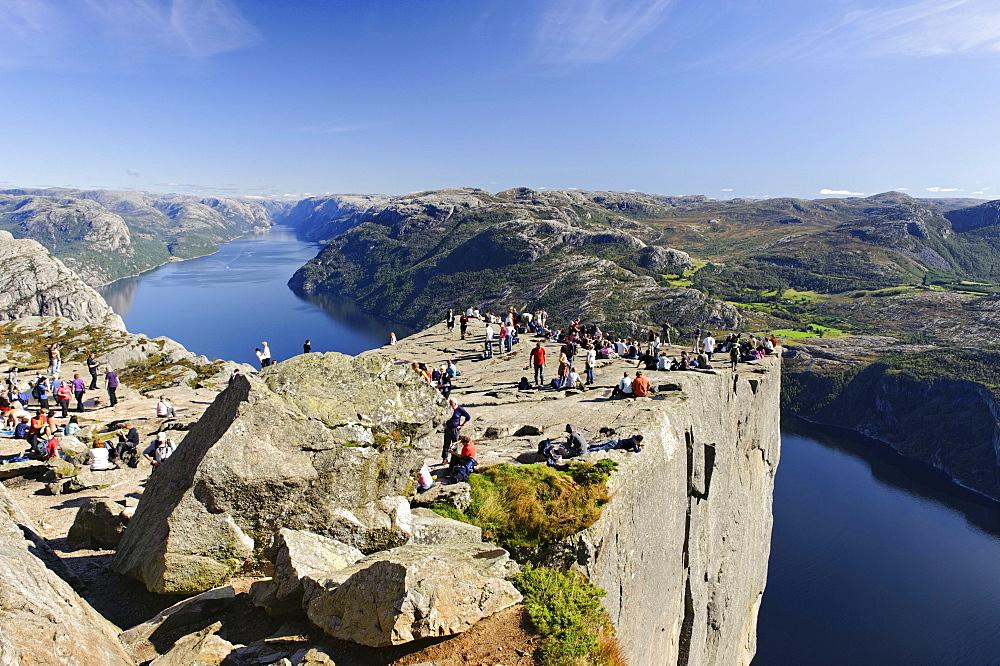 Preikestolen or Prekestolen or Pulpit Rock, Lysefjord, Norway, Scandinavia, Europe