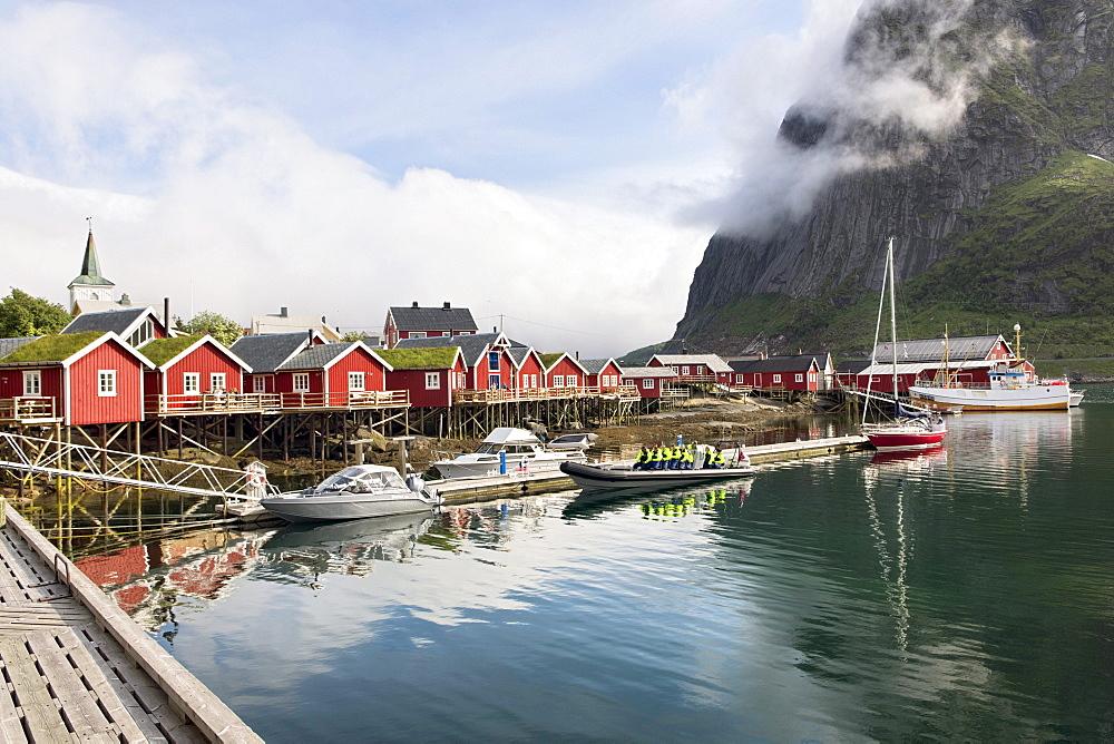 Fishing boats and fishermen's houses, Lofoten, Norway, Scandinavia, Europe