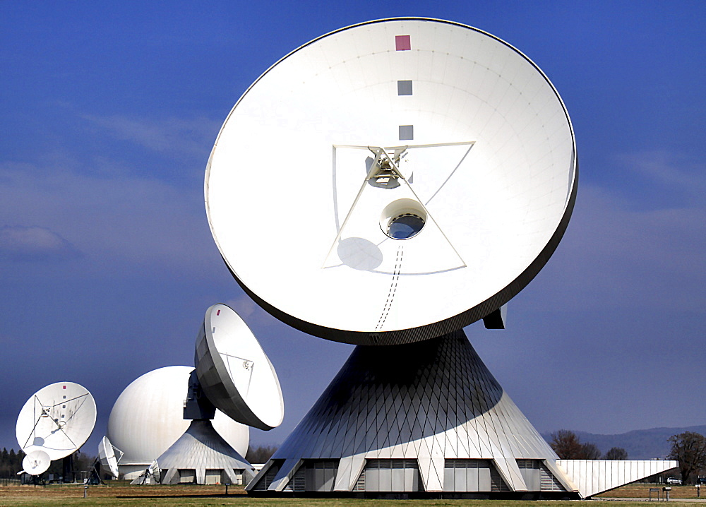 Parabolic antennas of the earth station in Raisting, Bavaria, Germany, Europe