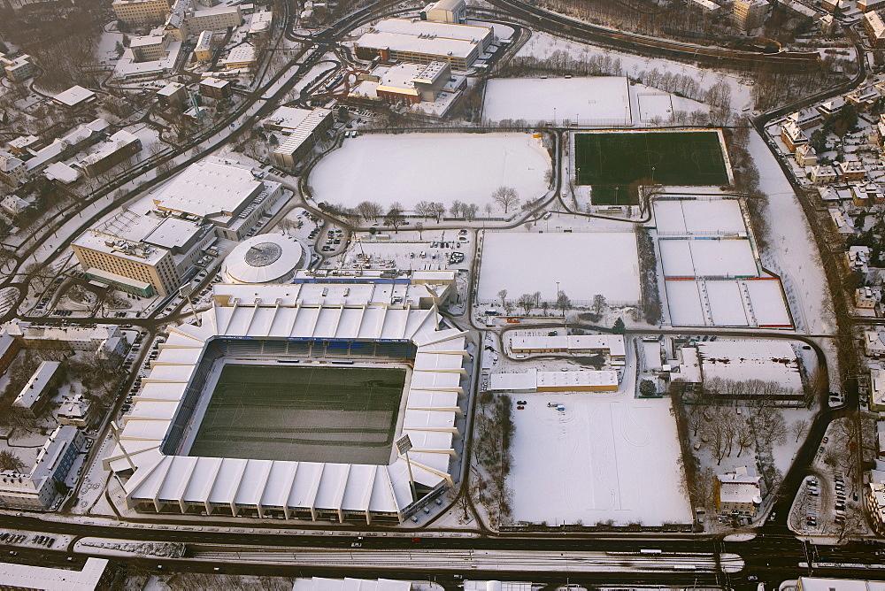 Aerial view, VfL-Stadion and closed sports fields, Bochum, Ruhrgebiet region, North Rhine-Westphalia, Germany, Europe