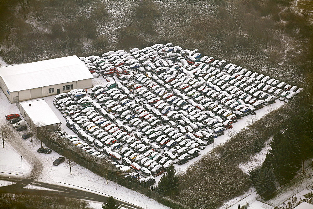 Aerial view, scrap yard, old cars, snow, Heessen, Hamm, Ruhr area, North Rhine-Westphalia, Germany, Europe