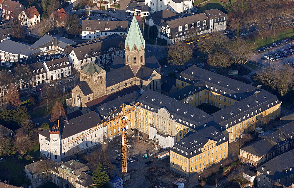 Aerial view, Folkwang University of the Arts, in Essen-Werden, Abtei Werden abbey, renovation of the university Essen, Ruhrgebiet region, North Rhine-Westphalia, Germany, Europe