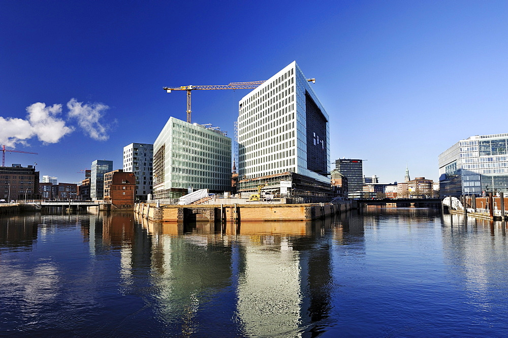 New buildings of the Spiegel publishing house on the Ericusspitze in the Hafencity district in Hamburg, under construction, Germany, Europe