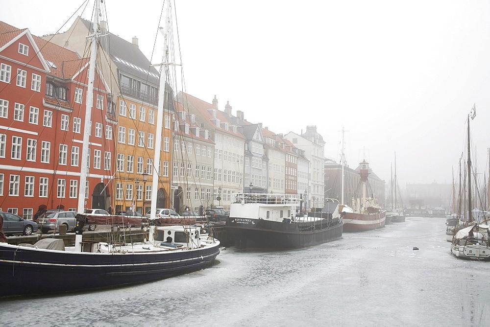 Nyhavn in winter, port of Copenhagen, Denmark, Europe