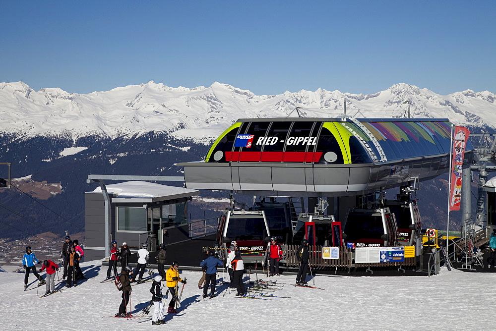 Summit station of the ropeway on the mountaintop plateau, Kronplatz mountain, 2272 m, Kronplatz winter sport region, Bruneck, Puster Valley, Province of Bolzano-Bozen, Italy, Europe