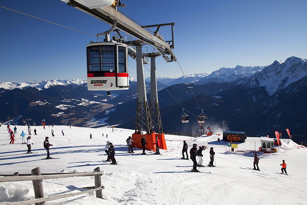 Ropeway, gondola lift, belvedere, mountaintop plateau on Kronplatz mountain, 2272 m, Kronplatz winter sport region, Bruneck, Puster Valley, Province of Bolzano-Bozen, Italy, Europe
