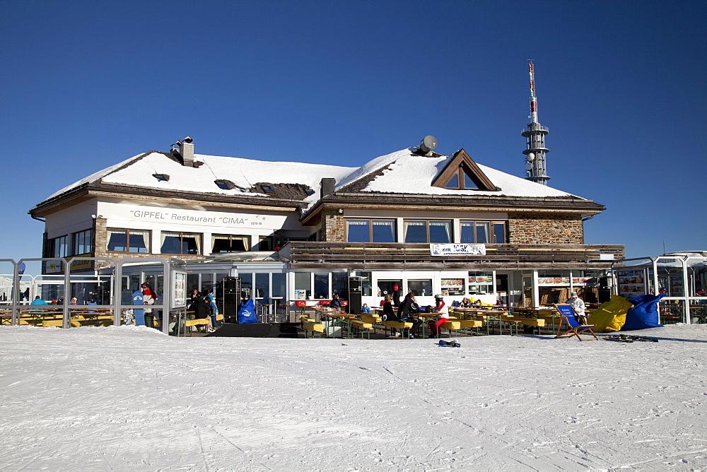 Cima Restaurant on the mountaintop plateau on Kronplatz mountain, 2272 m, Kronplatz winter sport region, Bruneck, Puster Valley, Province of Bolzano-Bozen, Italy, Europe