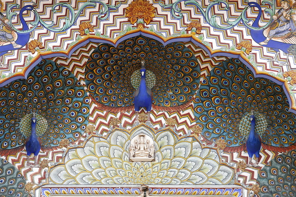 Ornate Peacock Gate in the City Palace, blue peacocks, Jaipur, Rajasthan, India, Asia