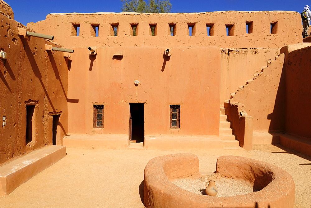 Historic French adobe fort at Tamanrasset, Algeria, Sahara desert, North Africa