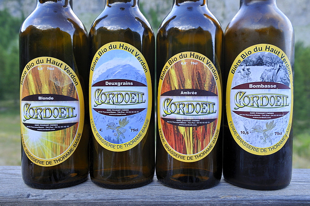 Organic beer from a local microbrewery at Verdon valley, Haute Verdon mountains, Alpes-de-Haute-Provence, France, Europe