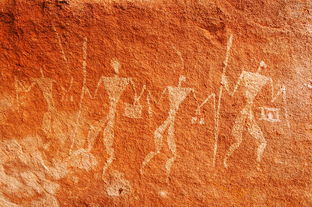 Painted warriors, neolithic rock art of the Tadrart, Tassili n'Ajjer National Park, Unesco World Heritage Site, Algeria, Sahara, North Africa