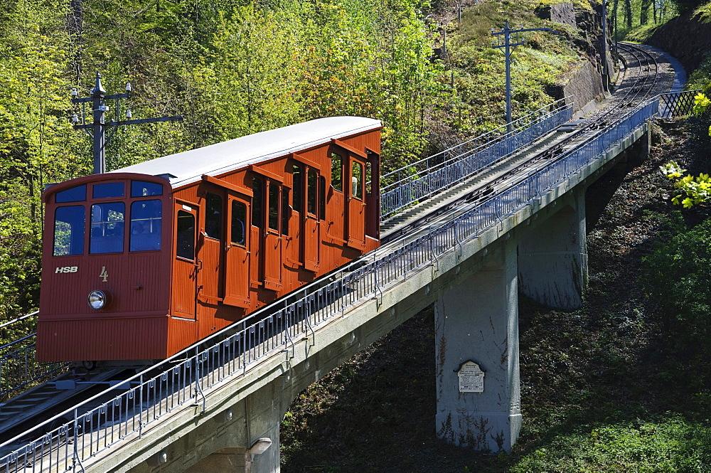 Historic funicular mountain railway to Mt. Koenigstuhl, Heidelberg, Baden-Wuerttemberg, Germany, Europe