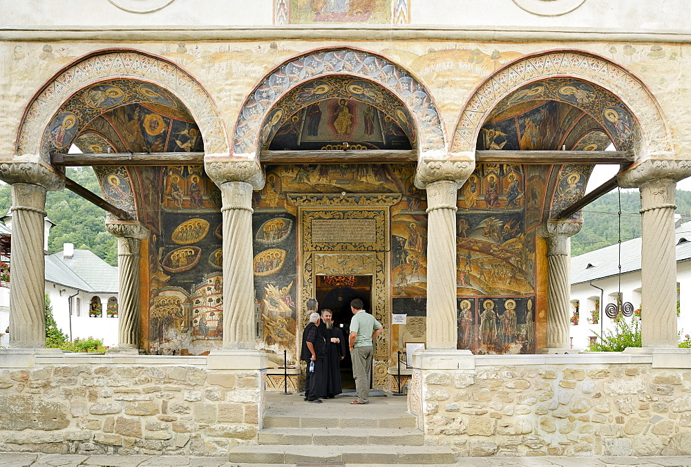 Frescoes on the walls in the entrance area, Cozia Monastery, Oltenia region, Lesser Wallachia, Romania, Europe