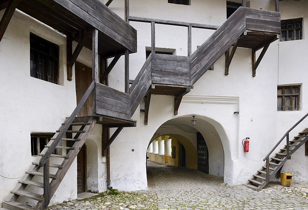 Staircase leading to the pantries, Fortified Church of Prejmer, UNESCO World Heritage Site, Romania, Europe