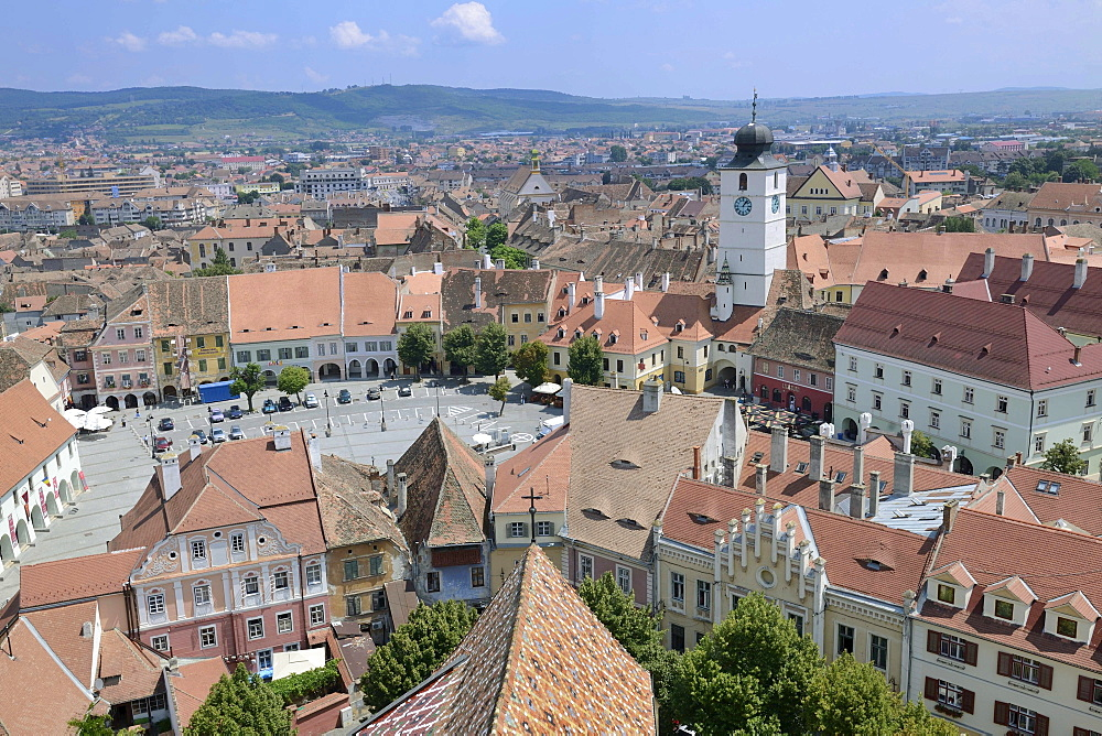View from the tower of the Protestant church on the old town with old tower of the town hall, old town, Sibiu, Romania, Europe
