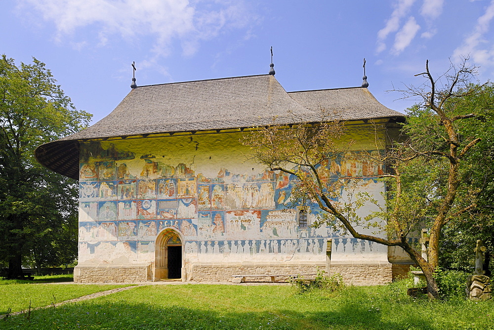Arbore Monastery, a painted monastery of northern Moldavia, Romania, Europe