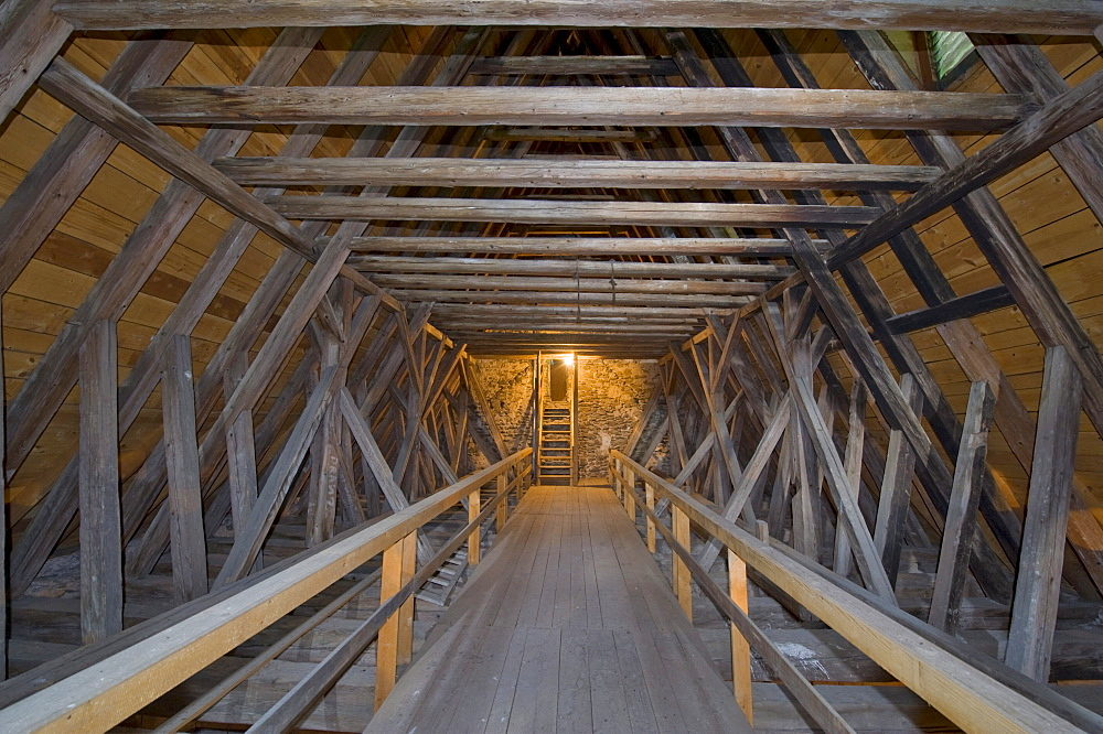 Roof timbering above the nave, fortified church of St. James the Elder, Lichtenegg, Bucklige Welt region, Lower Austria, Austria, Europe