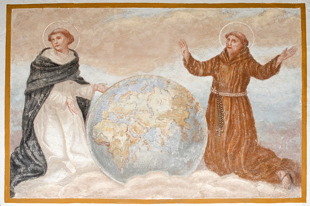St. Dominic and Francis of Assisi standing next to a globe, St. Radegundis, Katzelsdorf, Bucklige Welt region, Lower Austria, Austria, Europe