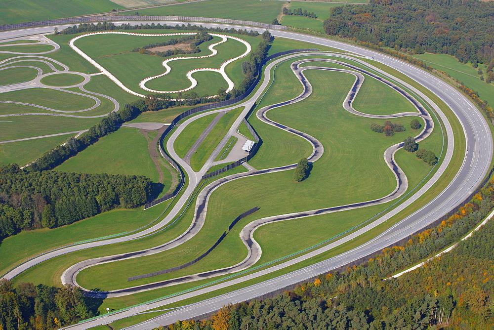 Aerial view, car track testing circuit, Hollerdau, Bavaria, Germany, Europe