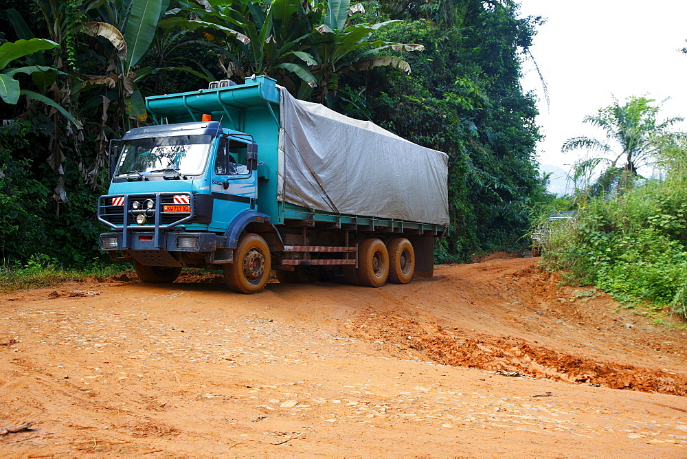 Truck driving on a road through the jungle, Bamenda, Cameroon, Africa