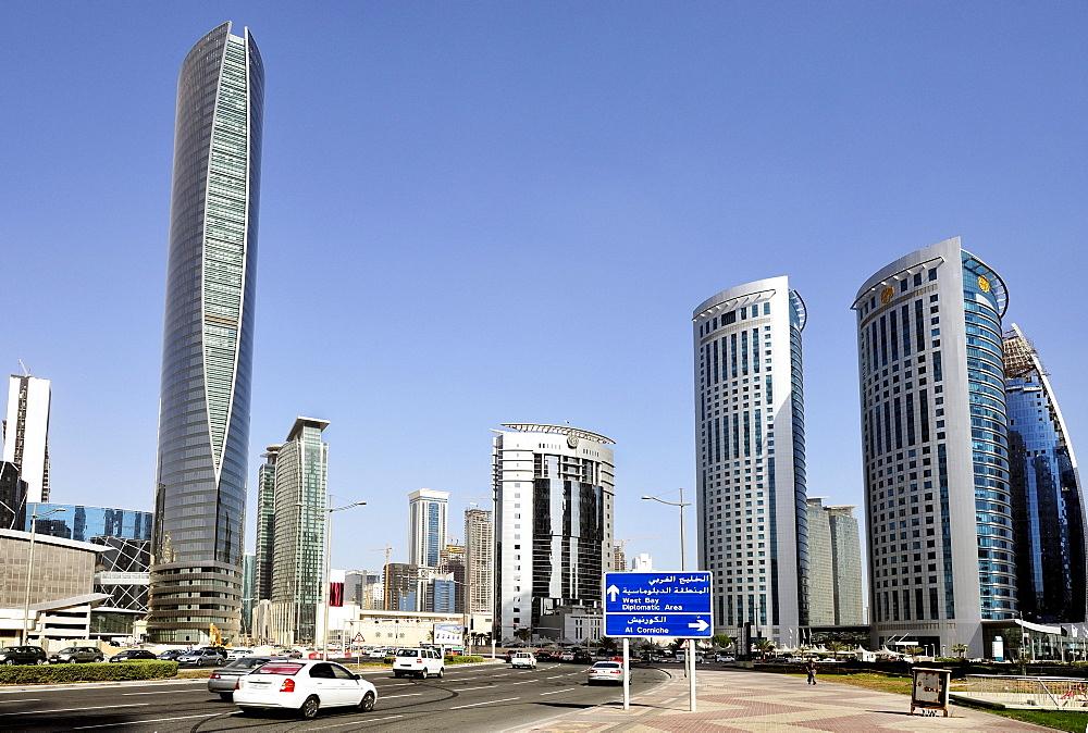Office buildings at the Majlis Al Taawon Street, Doha, Qatar, Qatar, Arabian Peninsula, Persian Gulf, Middle East, Asia