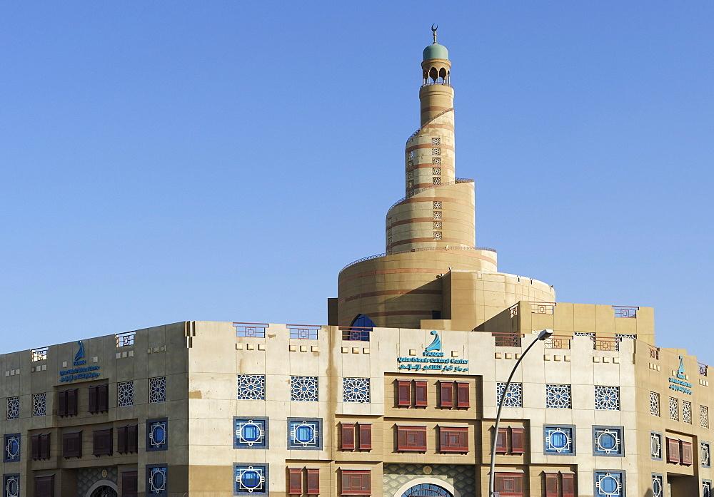 Spiral-shaped tower of Fanar, Qatar Islamic Cultural Center, Doha, Qatar, Arabian Peninsula, Persian Gulf, Middle East, Asia