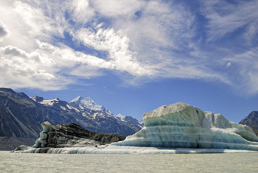 Icebergs on Tasman Lake, Mount Cook National Park, South Island, New Zealand