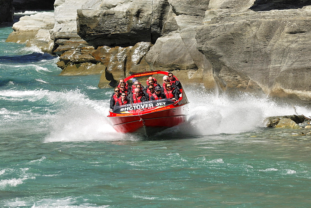 Jet boat, speed boat on Shotover River, Queenstown, South Island, New Zealand