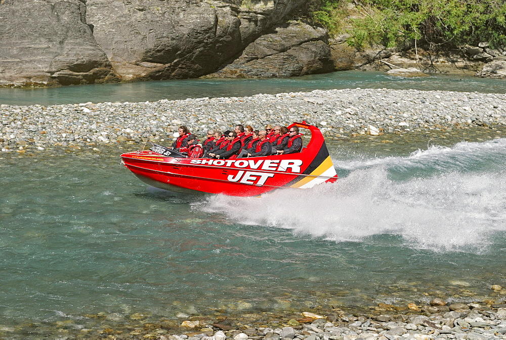 Jetboat, speedboat on the Shotover River, Queenstown, South Island, New Zealand
