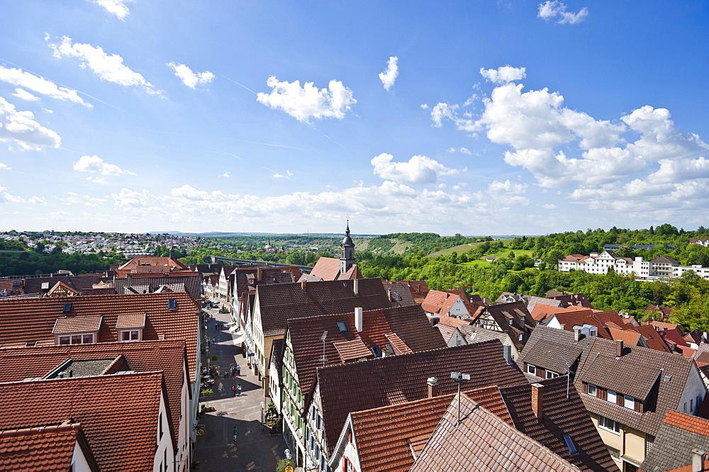 View from the Oberer Torturm tower, Marbach am Neckar, Neckar valley, Baden-Wuerttemberg, Germany, Europe